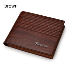 [LESHP]Fashion Men Short Style Soft PU Leather Business Credit Cards Organizer Wallet Brown