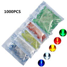 1000pcs 5mm LED Blue Green Yellow Red White Round LED Diode Mixed Color Kit