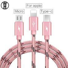 WH usb cable 3 in 1 USB Charger Cable, iPhone X 5 6 7 8 Samsung S8 Note8 Xiaomi Phone Charging Cable Type C Micro USB Cable