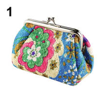Farfi Women Fashion Cute Flowers Embroidered Case Wallet Card Keys Pouch Coin Purse