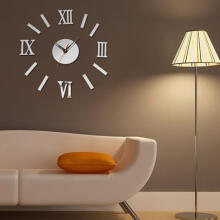 Farfi 3D Luxury DIY Clock Decoration Mirror Stickers Wall Art Home Decoration as the pictures