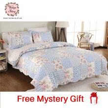Vintage Story - Shabby Bed Cover Set Korea Size King 220x240 cm N03 - Blue