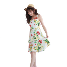 Pink Door Tropical Flower Dress -White White All Size