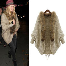 Fashion Beauty Women Faux Fur Collar Batwing Sleeve Loose Casual Warm Cardigan Shawl Sweater as the pictures