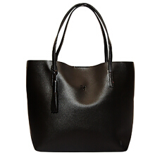 Tas Wanita Tote Bag Alice Bahan Kulit (Magnetic Button) - Black Beauty Gum