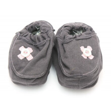 Cribcot Booties with Ribbon - Dark Grey & Pink Size 0-3M