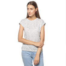 FACTORY OUTLET LO1709-0005 Women T-shirt SS White Melange - White