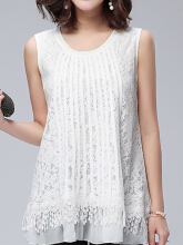 Elegant Lace Hollow Layered Sleeveless O-neck Women Tank Tops White XXXL