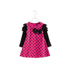Farfi Spring Baby Girl Long Sleeve Polka Dot Bowknot Ruffle Mini Dress Kids Clothes