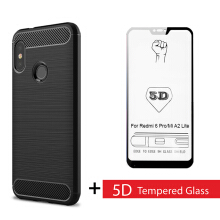 [free ongkir]Tokomuda Carbon Fit Case with Tempered Glass 5D for Xiaomi Mi A2 Lite (Redmi 6 Pro) 5.84''  2018 Black