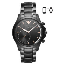 Emporio Armani Hybrid Smartwatch ART3012 Chronograph Black Pattern Dial Black Stainless Steel Strap [ART3012]
