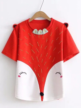 Casual Fox Print Ears Short Sleeve O-neck T-shirts For Women Red One Size