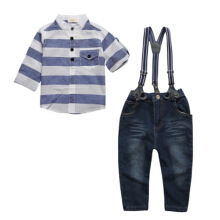 Children's suit striped boys' long sleeve shirt + cowboy trousers + strap two-piece suit