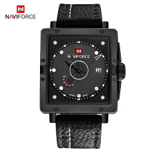 NAVIFORCE Men Quartz Sports Watches Fashion Top Brand Leather Strap Creative Waterproof Wristwatches Man Clock Black