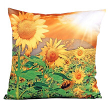 Farfi 3D Sunflower Pattern Cotton Linen Throw Pillowcase