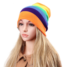 Zanzea 0051Women Beanies Striped Rainbow Colors Hat Cotton Knitted Hats Soft Beanie Gorro Cap Orange