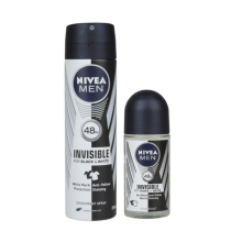 NIVEA MEN Deodorant Invisible Black & White Spray 150ml + Roll On 50ml