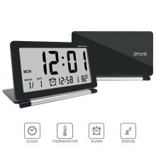 Loskii DC-11 Electronic Travel Alarm Clock Folding Desk Clock With Temperature Date Time Calendar Red