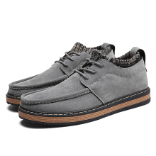 Zanzea Men Knitting Socks Lace Up Suede Flat Casual Shoes Grey 44