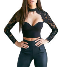 Farfi Sexy Women Solid Color Back Zipper V Neck Lace Patchwork Long Sleeve Crop Top