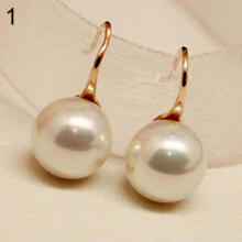 Farfi Women Imitation Pearls Ball Hook Earrings Eardrops Bridal Wedding Party Jewelry