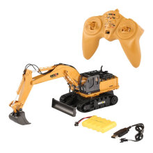 COZIME HUINA TOYS 1510 2.4G 1/16 11CH Alloy RC Excavator Truck Sound 680° Rotation Brown