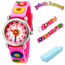 Keymao Sunflower Waterproof 3D Cute Cartoon Silicone Wristwatches Gift for Little Girls Boy Kids Children Pink