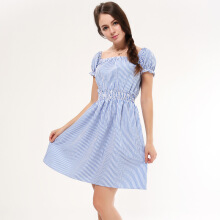 Newlan Q11 Spring and summer sexy striped word collar off-shoulder slim waist short-sleeved women dress