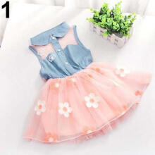 Farfi Sweet Girl Denim Tulle Skirt Patchwork Little Princess Party Tutu Dress