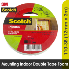 3M Scotch Mounting Double Tape Size 12 mm x 3 mm 110 - 3B White