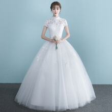 Xi Diao High Neck Short Sleeve Women Wedding Dress