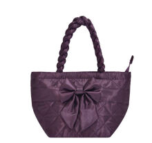 Naraya Satin Quilted Trapeze Handbag with Bow NBS-52 No.102 Purple