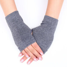 Home Office Warm Knitted Stretch Elastic Warm Half Finger Fingerless Gloves Black