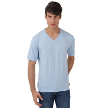 FACTORY OUTLET UG1802-0011 Mens T-Shirt V Neck Short Sleeve - Sky Blue