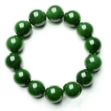 Farfi Natural 10mm Dark Green Faux Jade Round Beads Stretchy Bangle Bracelet Gift