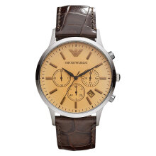 Emporio Armani Classic AR2433 Chronograph Biege Dial Brown Leather Strap [AR2433]