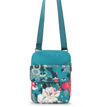 Sakroots Small Flap Messenger Teal Flower Power