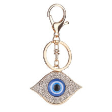 Rhinestone Blue Eyes Metal Charming Keychain Bag Car Key Ring Charm Pendant blue & gold