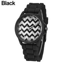 Farfi Unisex Geneva Wavy Stripes Jelly Silicone Band Quartz Analog Wrist Watch