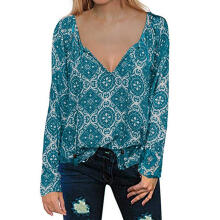 Farfi Bohemia Women's V Neck Tassel Drawstring Long Sleeve Loose Autumn Blouse Top
