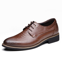 JUNSITE business dress men's pointed leather head layer leather shoes