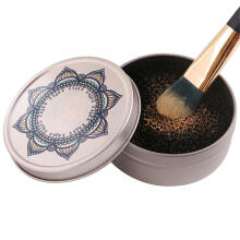 Farfi Unique Flower Cosmetic Makeup Brush Cleaning Box Eye Shadow Sponge Cleaner Tool as the pictures