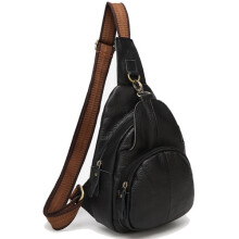 Zanzea 0051Genuine Leather Chest Bags Retro Shoulder Bags Vintage Crossbody Bags Coffee