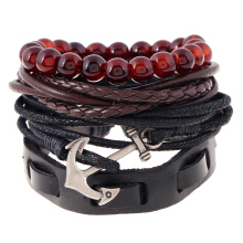 Fashionmall Handmade Genuine Leather Bracelet Set Black