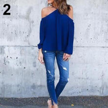 Farfi Women Sexy Halter Long Sleeve Solid Color Off Shoulder Loose Blouse T-Shirt