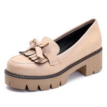 Extra Size Oxford Leather Comfortable Shoes Tassels Flat Loafers For Women Grey 38