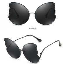 [Kingstore] Feather Shape Sunglasses Unique Sun Glasses Resin Lens Eyewear For Beach Black Frame With Gray Glasses