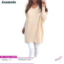 Anamode Women V Neck Sweater Long Sleeves Knitted Pullover Fashion Basic Knitwear -Apricot -