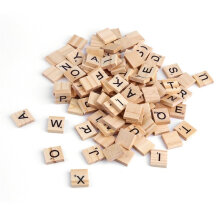 [COZIME] 100PCS Wooden Alphabet Tiles Black Letters For Scrabble Children Toy Dark Yellow