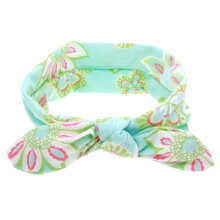 [COZIME] Lovely Cute Design Floral Printed Bowknot Baby Children Headband Elastic Green1